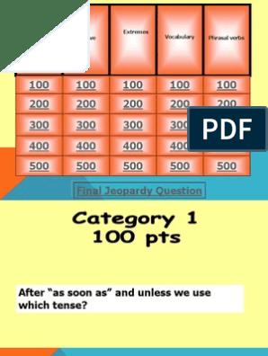 Jeopardy Speakout 1 - 4 Upper Intermediate | Languages | Linguistic