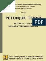 Petunjuk Teknis Kriteria Lokasi Menara Telekomunikasi