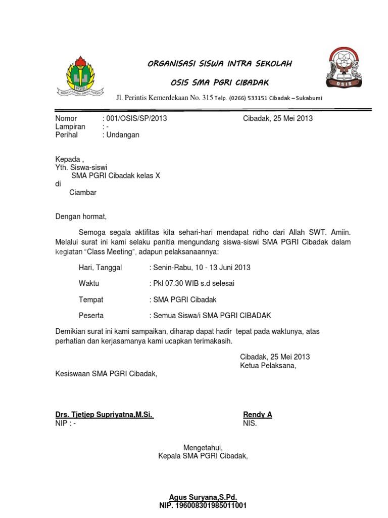 Contoh Surat Undangan Osis Suratmenuhargacom