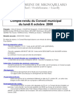 Mignovillard - Compte rendu du Conseil municipal du 6 octobre 2008
