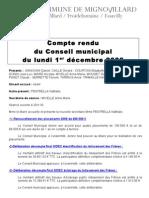 Mignovillard - Compte rendu du Conseil municipal du 1er décembre 2008