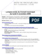 Mignovillard - Compte rendu du Conseil municipal du 3 novembre 2008