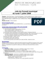 Mignovillard - Compte rendu du Conseil municipal du 7 juillet 2008