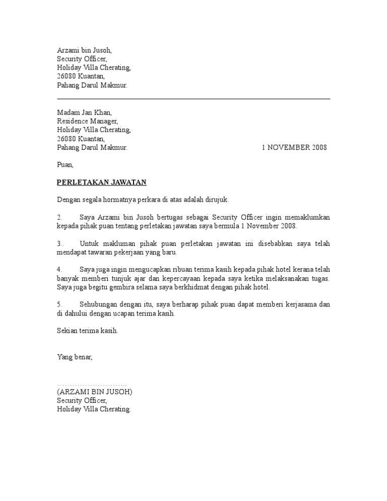 Surat perletakan jawatan
