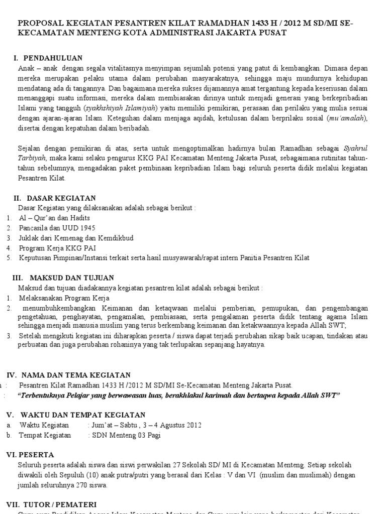 Proposal Kegiatan Pesantren Kilat Ramadhan 1433 H Doc