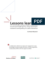Lessons Learned on promoting better links between research and policy in Latin America