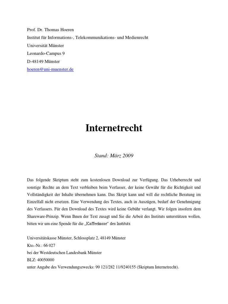 Internet Recht Skriptmaerz2009