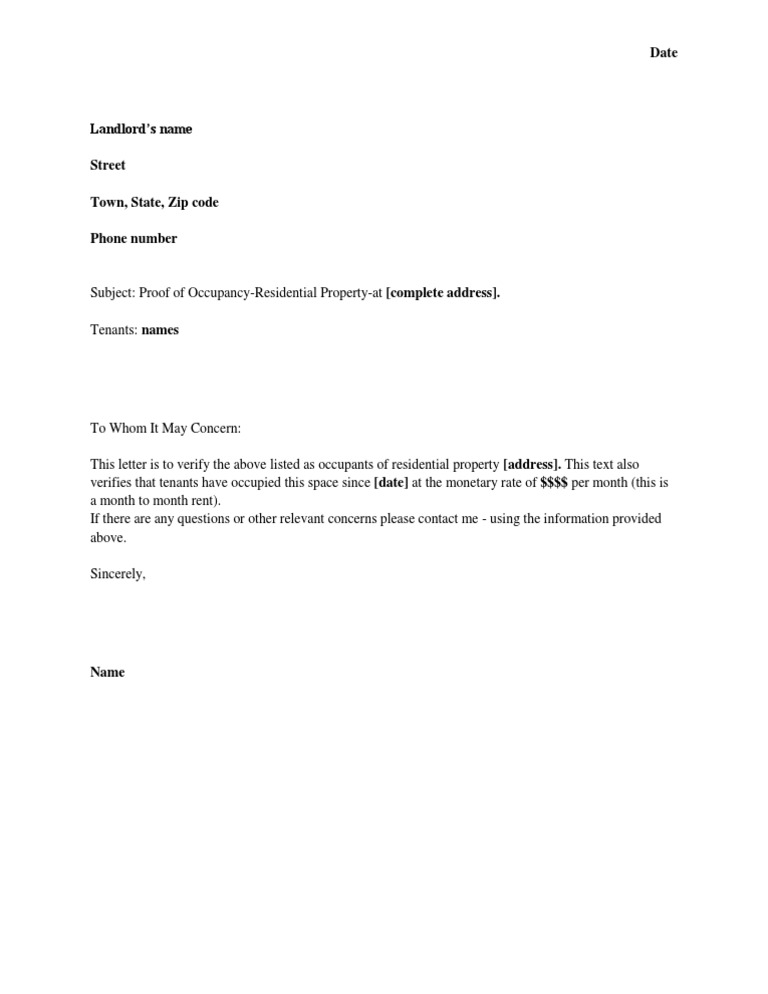 Proof of Residency Template – Tenant Verification Letter