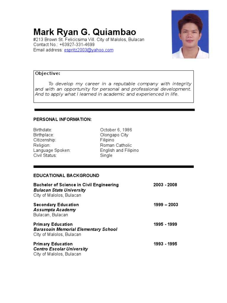 Resume Sample Resume For Fresh Graduate Civil Engineering mark ryan quiambao resume philippines engineering science and technology
