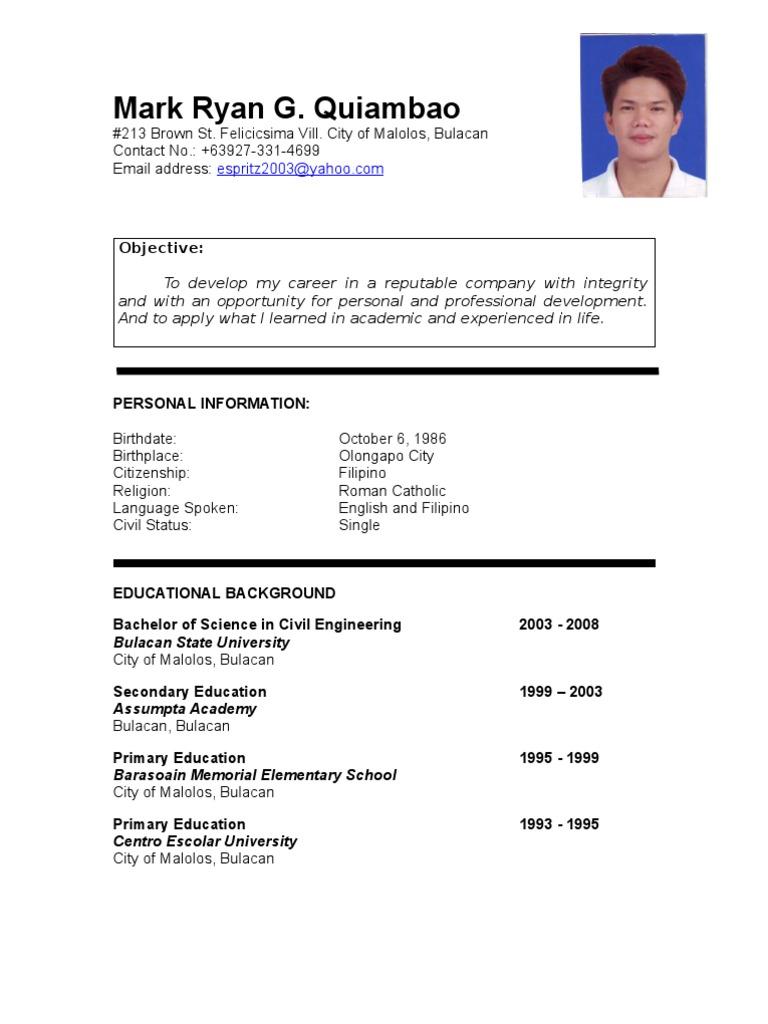 resume Sample Resume Of A Civil Engineer mark ryan quiambao resume philippines engineering science and technology