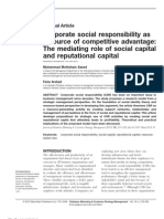 Corporate social responsibility as  a source of competitive advantage