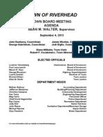 September 4, 2013 - Agenda