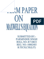 TERM PAPER the Maxwell Equations