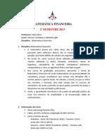 PLANO DE ENSINO  MATEMÁTICA FINANCEIRA (ALUNOS)