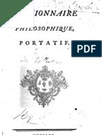 Dictionnaire Philosophique, Portatif - Voltaire (1765)