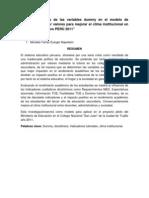 IMPACTO DE LAS VARIABLES DUMMY EN EL MODELO DE ADMINISTRACIÓN POR VALORES PARA MEJORAR EL CLIMA INSTITUCIONAL EN EL SISTEMA EDUCATIVO PERÚ 2011