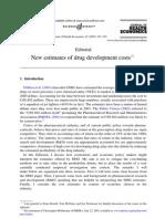 New estimates of drug development costs
