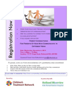 Registration  Flyer for Parent Connections for Communication