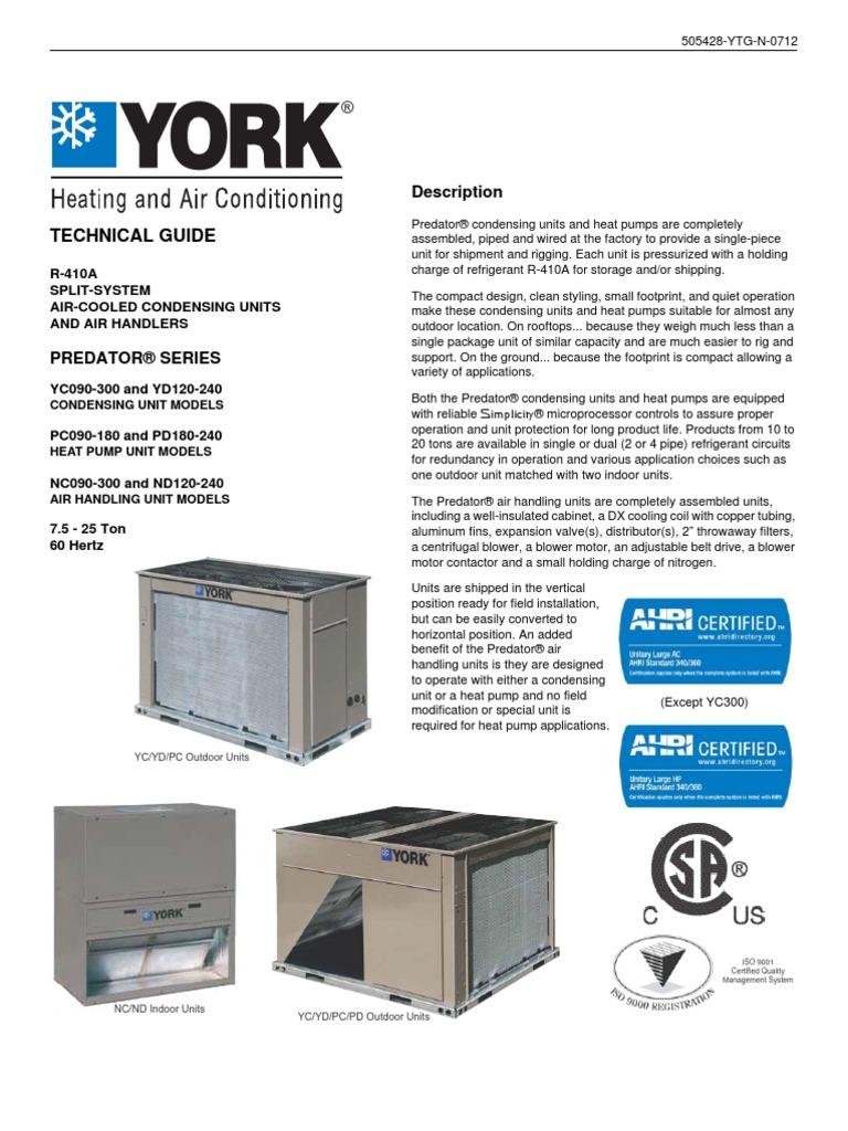 Manual de condensadoras modelo yc mca york heat pump hvac sciox Image collections