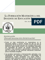 La Formación Matemática del Docente de Educación Primaria