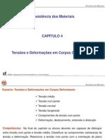 Capitulo 4 - Tensões e deformações em corpos deformáveis