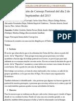 Acta de la Reunión de Consejo Pastoral del día 2 de Septiembre del 2013