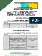 HI_ FECHAS Y SEDES DE EXAMEN GESTION Y TRAMITACIÓN TURNO LIBRE AMBITO CANARIAS