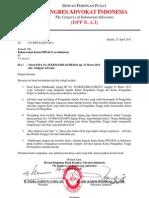 Surat Kongres Advokat Indonesia sehubungan dengan Surat KMA No. 052/KMA/HK.01/III/2011 tgl. 23 Maret 2011