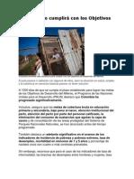 Colombia no cumplirá con los Objetivos del Milenio