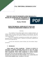Riscuri Legate de Manipularea Manuala a Maselor Si Masuri de Prevenire Ale Acestora in Unitatile Medicale - Rodica Tocan