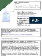 Transcending the Technology of Telemedicine