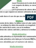 Probabilidad y Estadística, Medidas de Tendencia Central.