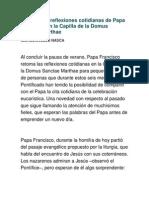 Vuelven Las Reflexiones Cotidianas de Papa Francisco en La Capilla de La Domus Sanctae Marthae