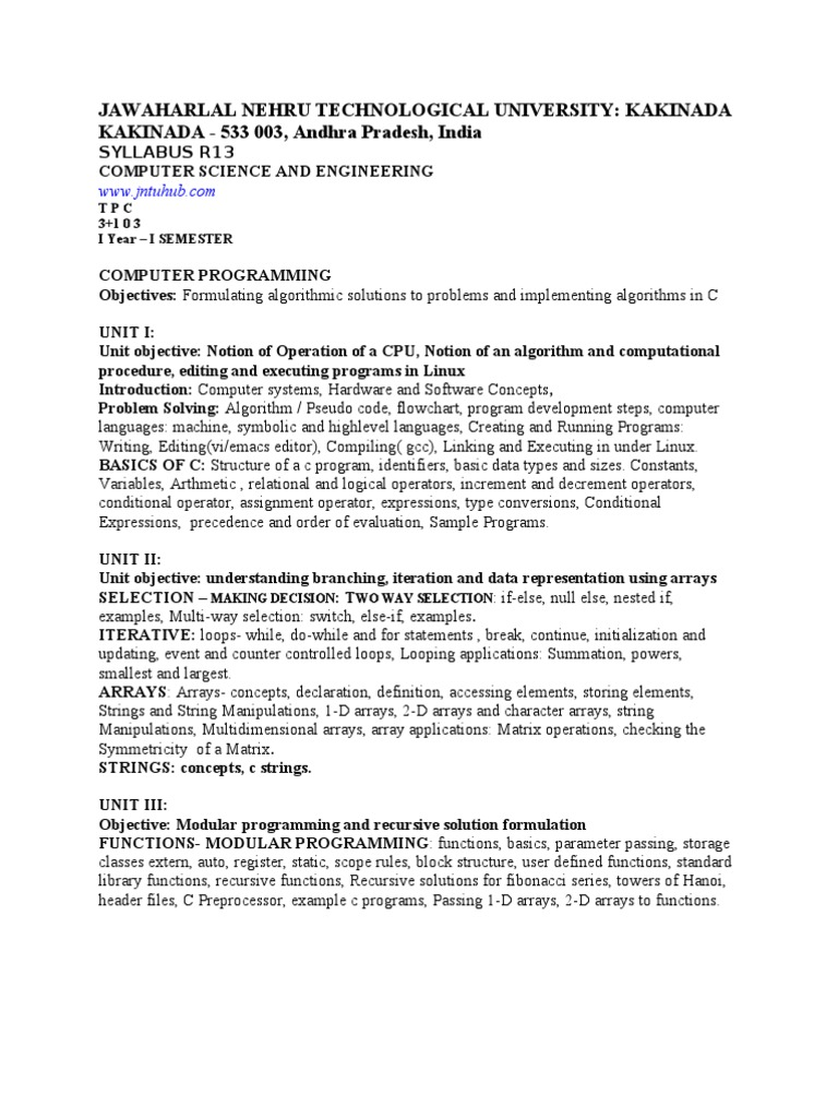 Ist Yr Syllabus c Jntuk | C (Programming Language) | Array