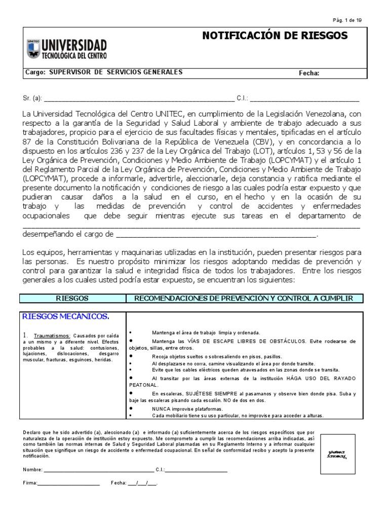 Notificacion de Riesgos Unitec Supervisor de Servicios Generales