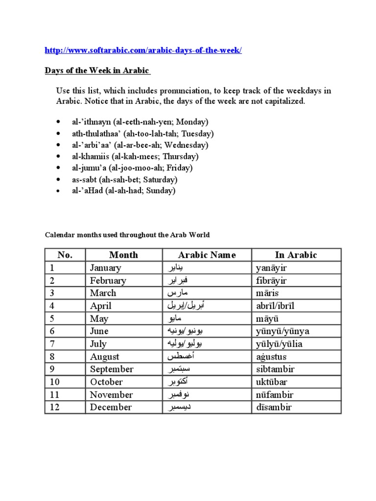 Days of the Week in Arabic doc
