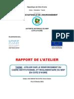 Rapport Atelier Sur Renforcement Du Cadre Juridique Et Institutionnel