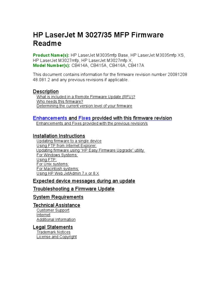 HP LaserJet M3027-35 MFP Firmware Readme_48_081_2 | Computer