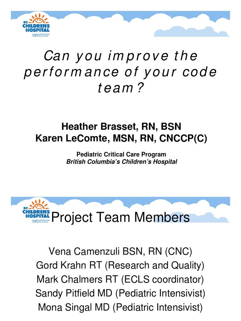 Code Team Performance 1 Pdf Cardiopulmonary