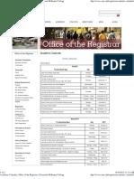 Academic Calendar, Office of the Registrar, Claremont McKenna College