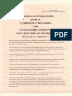 Memorandum of Understanding between Universities and the Province of Nova Scotia, 2012-2013, 2013-2014, and 2014-2015