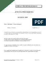 BAC Sciences-Physiques 2009 STL BIO