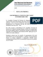 LA ASAMBLEA NACIONAL DE RECTORES PRÓRROGA VIGENCIA DEL CARNÉ UNIVERSITARIO 2012