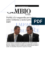 05-09-2013 Diario Matutino Cambio de Puebla - Puebla a La Vanguardia Por Trabajo Entre Gobierno y Sector Privado, RMV