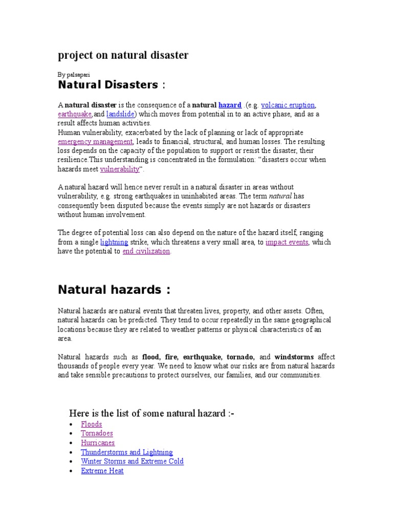 full project on natural disasters   tropical cyclones   flood