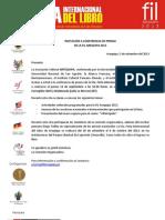 Invitación a conferencia de prensa - FIL 2013