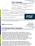VC Elevator Pitch Template for Startups