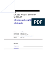 CR010 Project Start Up Checklist