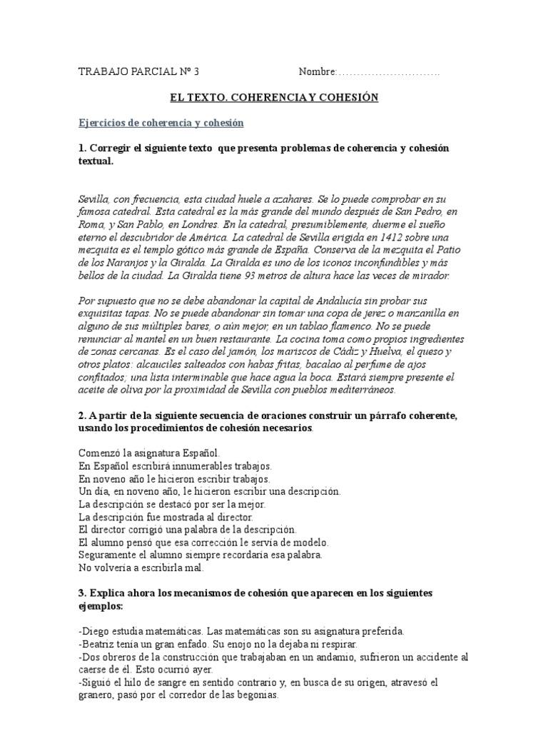 Ejercicios De Coherencia Y Cohesión Para Parcial Sevilla