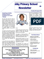 Ashby Primary School Newsletter, August 6, 2013